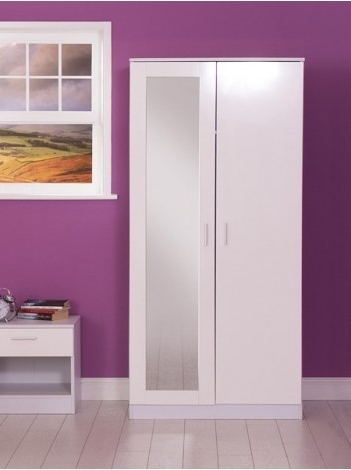 Preferred White Gloss Mirrored Wardrobes Inside High Gloss 2 Door Wardrobe With Mirror (View 6 of 15)