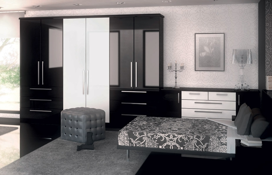 Premier Duleek Wardrobe Doors In High Gloss Black And High Gloss Within Most Popular Black High Gloss Wardrobes (View 6 of 15)