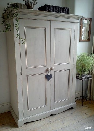 Pretty Painted Vintage Shabby Chic Knockdown Pine Wardrobe (View 6 of 15)