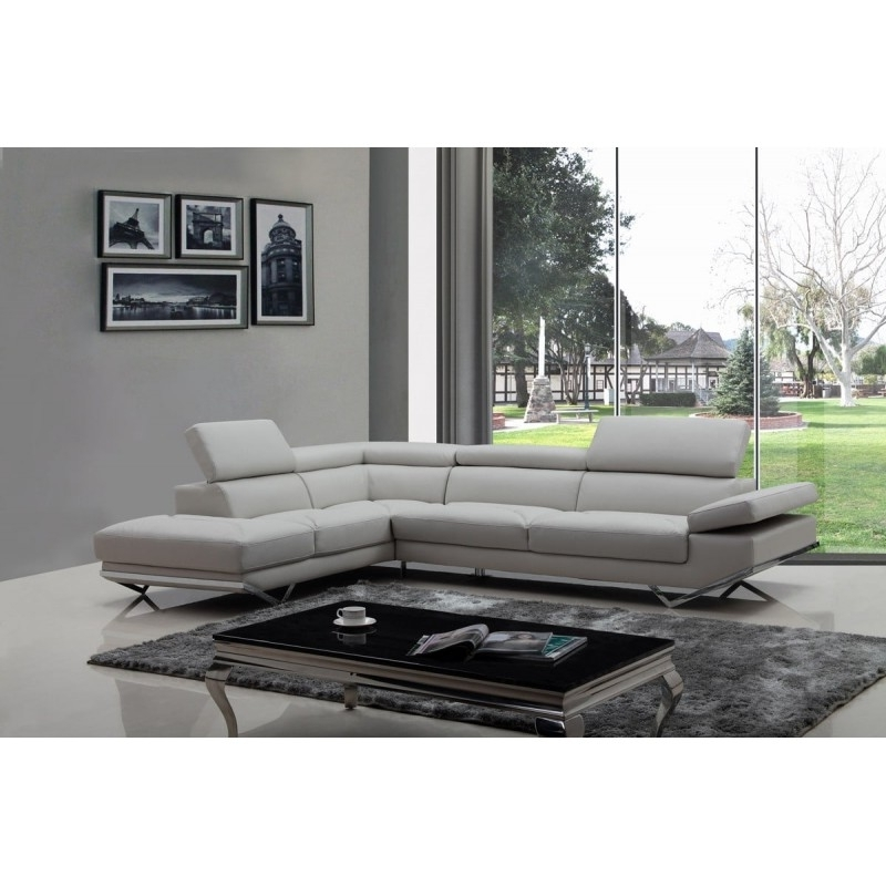 Quebec Sectional Sofas In Latest Casa Quebec Modern Light Grey Eco Leather Sectional Sofa (View 8 of 10)