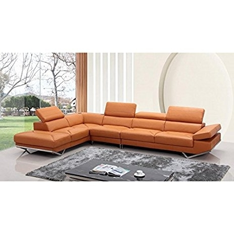 Quebec Sectional Sofas Within Famous Amazon: Vig  Quebec Divani Casa Modern Orange Leather (View 10 of 10)