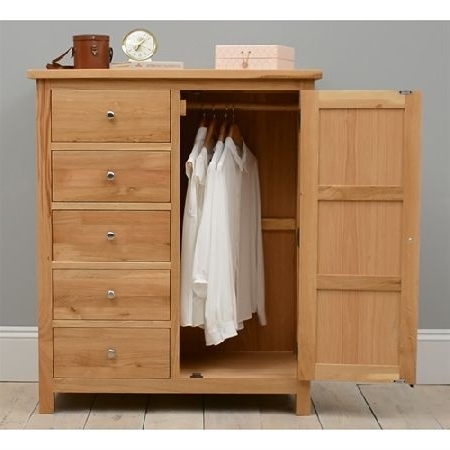 Quercus Oak Combination Wardrobe  (View 9 of 15)