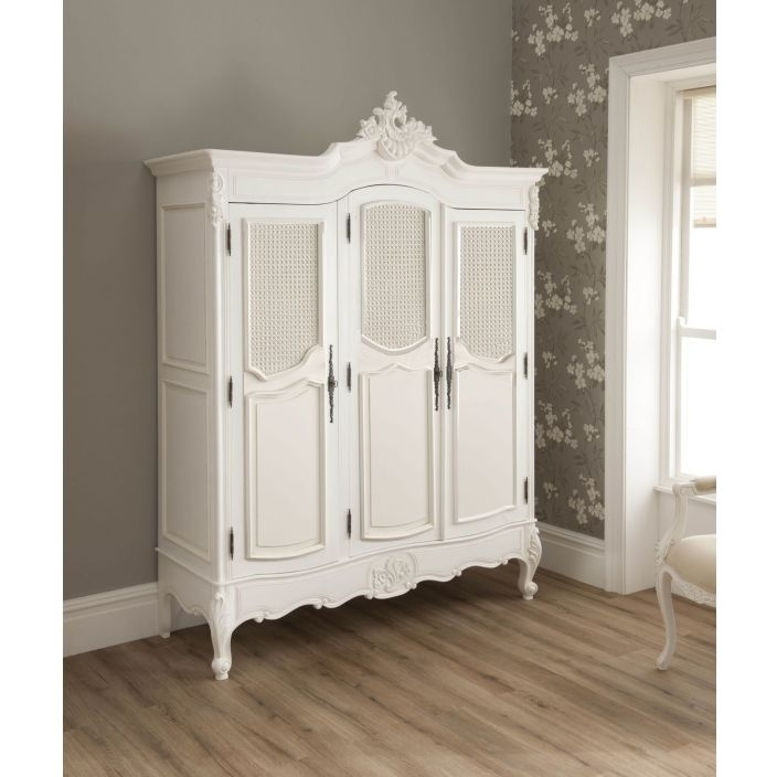 Rattan Antique French Style Wardrobe (View 12 of 15)
