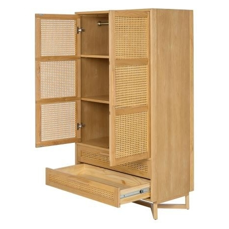 Rattan Wardrobes Pertaining To Fashionable Raffles 2 Door 2 Drawer Wardrobe, Natural & Rattan  (View 11 of 15)