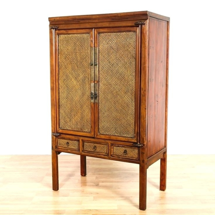 Rattan Wardrobes Within Well Known Wardrobes ~ Chinese Woven Rattan Wardrobe Armoire Cabinet Wicker (View 13 of 15)