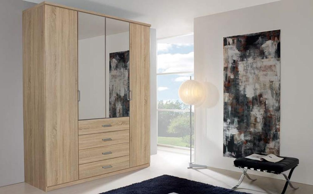 Rauch Wardrobes Regarding Fashionable Rauch Harvard Oak Combi Mirrored Wardrobe – 4 Doors 4 Drawer Only (View 9 of 15)
