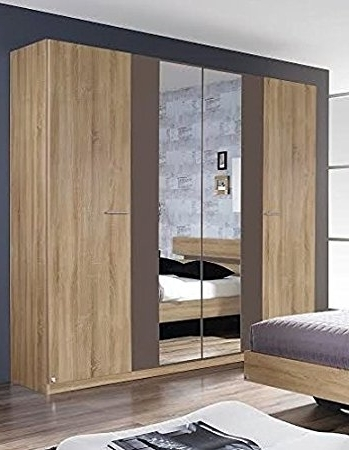 Rauch Wardrobes With Regard To Best And Newest Rauch Almada 4 Door 2 Mirror Hinged Wardrobe In A Sonoma Oak With (View 10 of 15)
