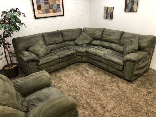 Recent 840  $100 Down  Olive Green Microfiber Sectional Sofa And Chair Pertaining To Eugene Oregon Sectional Sofas (View 8 of 10)