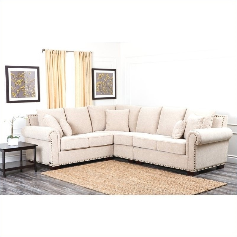 Recent Abbyson Sectional Sofas Regarding Abbyson Living Bromley Fabric Nailhead Sectional Sofa In Sandstone (View 8 of 10)