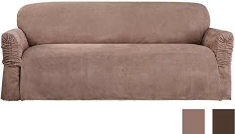 Recent Amazon: Sure Fit Faux Suede – Sofa Slipcover – Taupe (Sf38888 Inside Faux Suede Sofas (View 3 of 10)
