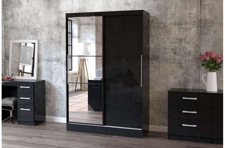 Recent Birlea Lynx Black With Black Gloss Sliding Door Wardrobe With Mirror In Black Gloss Wardrobes (View 13 of 15)