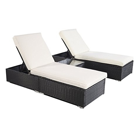 Recent Black Outdoor Chaise Lounge Chairs With Regard To Amazon : Giantex 3 Piece Wicker Rattan Chaise Lounge Chair Set (View 14 of 15)