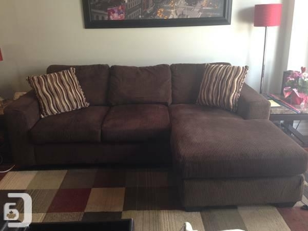 Recent Chocolate Brown Nina Microsuede Sofa Chaise/ Love Seat** – For Throughout Peterborough Ontario Sectional Sofas (View 8 of 10)
