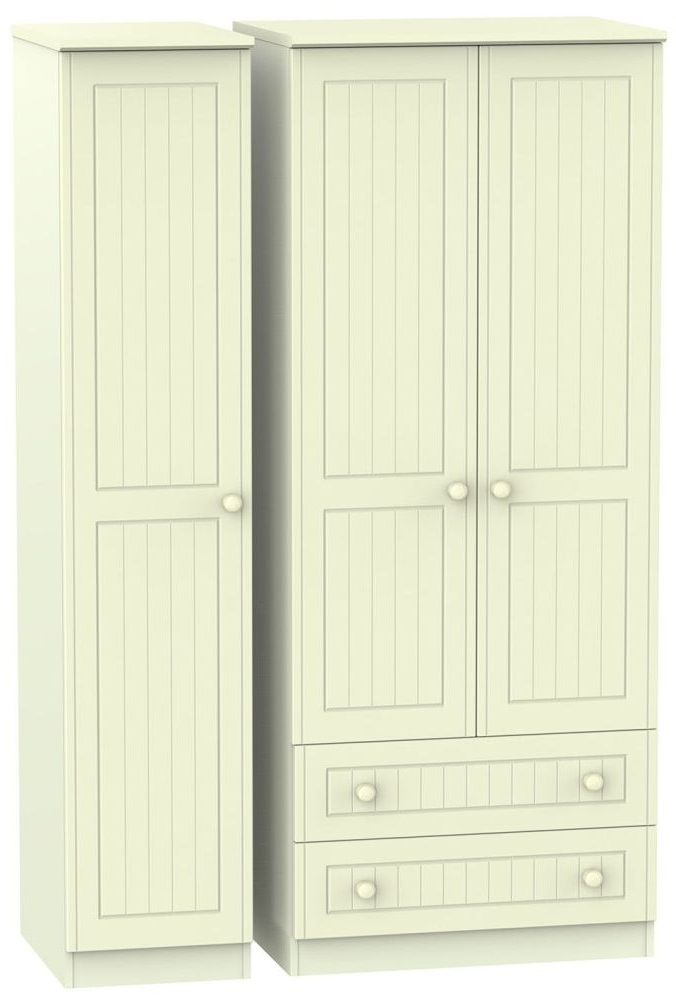 Recent Cream Triple Wardrobes Inside Buy Warwick Cream Triple Wardrobe With 2 Drawer Online – Cfs Uk (View 11 of 15)