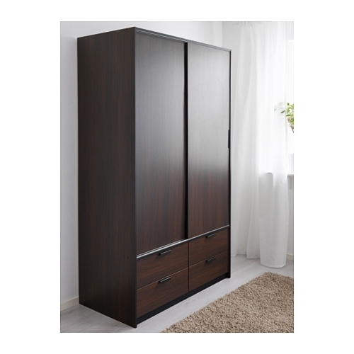 Recent Dark Brown Wardrobes Intended For Trysil Wardrobe W Sliding Doors/4 Drawers – Dark Brown – Ikea (View 4 of 15)