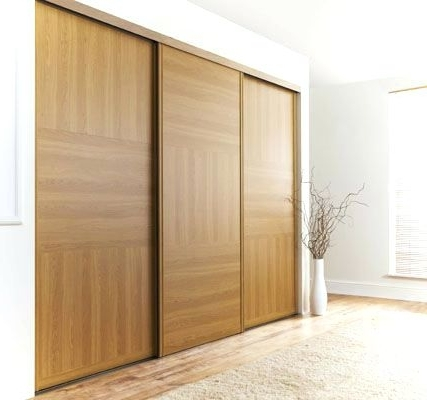 Recent Dark Wood Wardrobes With Sliding Doors Pertaining To Wardrobes: Wood Sliding Wardrobe Doors (View 9 of 15)