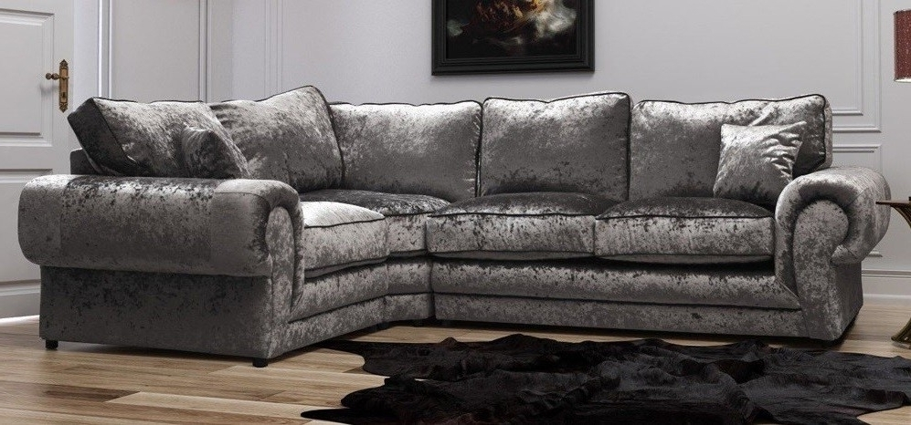 Recent Fabric Sofas Throughout Tango Corner Rhf Silver Crushed Velvet – Fabric Sofas – Sofas (View 9 of 10)