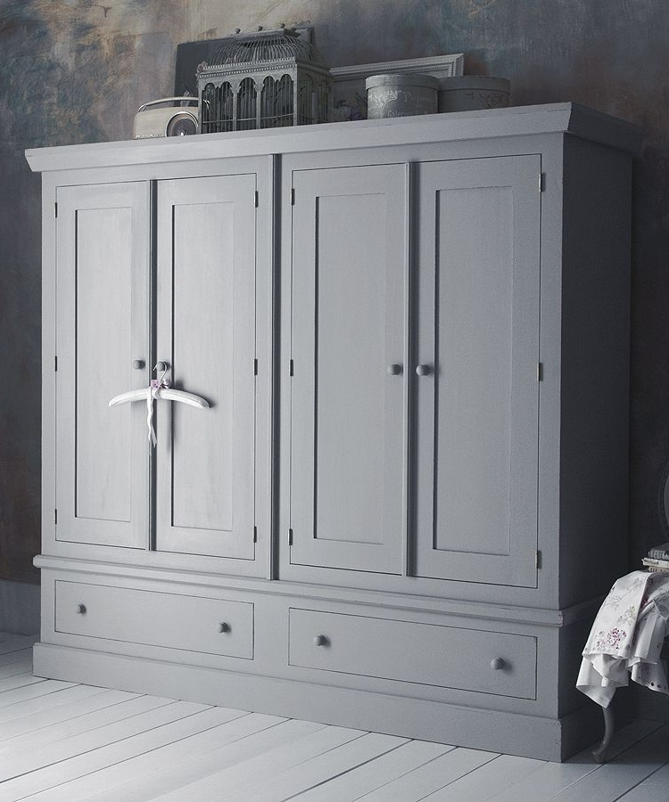 Recent Farrow And Ball Painted Wardrobes Regarding Four Door Shaker Wardrobe (View 14 of 15)