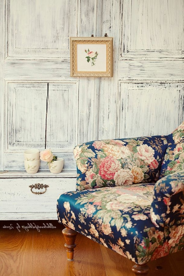 Recent Floral Sofas And Chairs Pertaining To Blue Floral Couch Floral Living Room Furniture Popular Design (View 8 of 10)