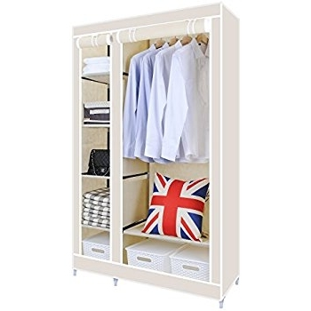 Recent Hst Mall Double Canvas Wardrobe Cupboard Clothes Storage Solution Regarding Double Canvas Wardrobes Rail Clothes Storage Cupboard (View 11 of 15)