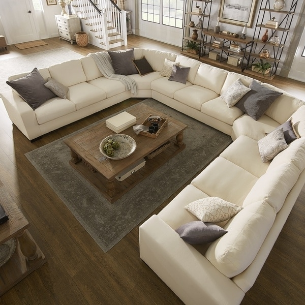 Recent Lionel White Cotton Fabric Down Filled U Shaped Sectional In U Shaped Sectionals (View 6 of 10)