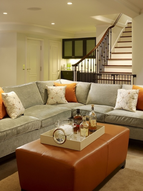 Recent Living Spaces Sectional Sofas With Regard To Cozy, Chic Blue Gray Tobacco Basement Living Space Design! Gray (View 8 of 10)