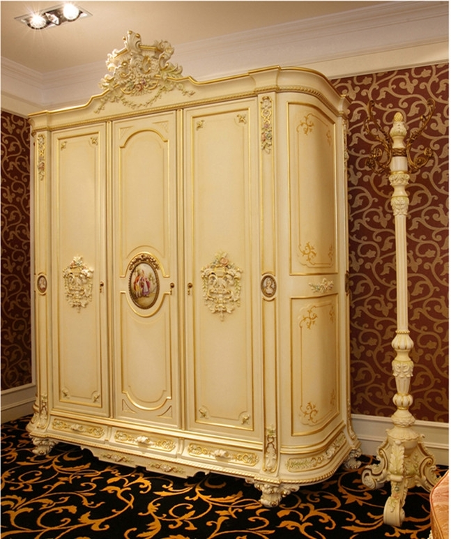 Recent Luxury French Rococo Style Three Door Wardrobe Closet/ Antique In Rococo Wardrobes (View 12 of 15)