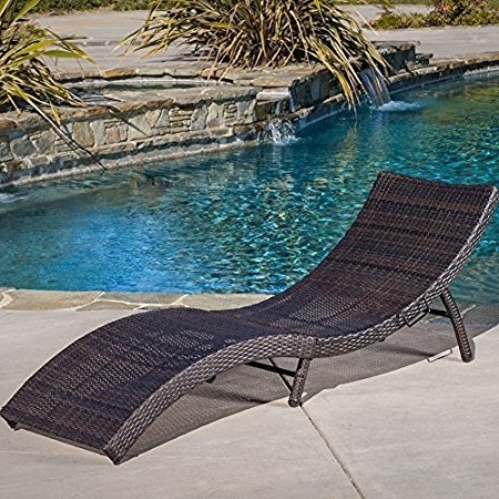 Recent Maureen Outdoor Folding Chaise Lounge Chairs With Regard To Amazon: Maureen Outdoor Multibrown Pe Wicker Folding Chaise (View 14 of 15)