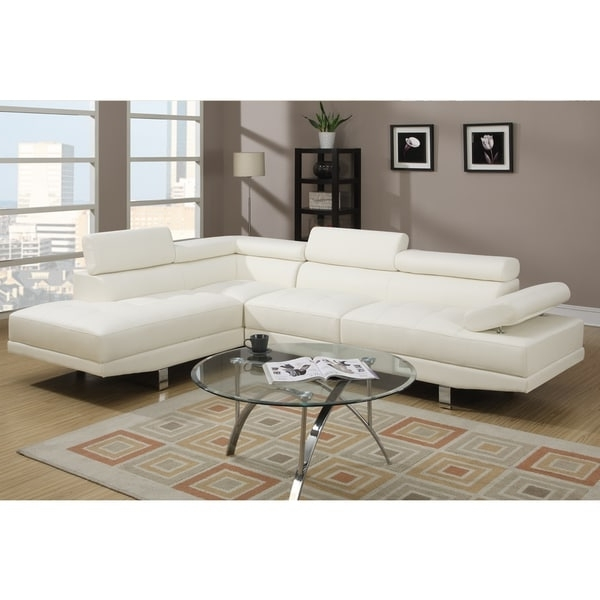 Recent Overstock Sectional Sofas Throughout Pomorie White Faux Leather Sectional Sofa Set – Free Shipping (View 9 of 10)