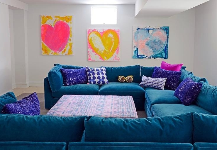 Recent Purple Velvet Sectional Design Ideas Throughout Blue U Shaped Sectionals (View 6 of 10)