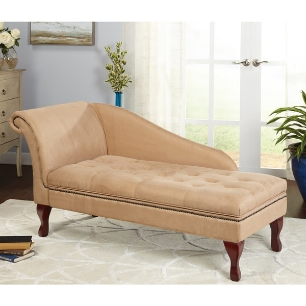 Recent Simple Living Tan Chaise Lounge With Storage – N/a – Free Shipping Intended For Overstock Chaise Lounges (View 9 of 15)