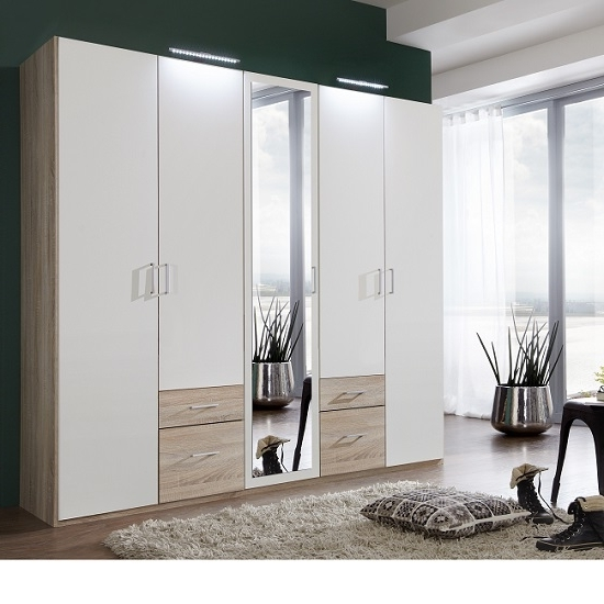 Recent Single Wardrobes With Mirror Throughout Mirror Design Ideas: Quad Mirror Door Wardrobes Sale Models Super (View 10 of 15)
