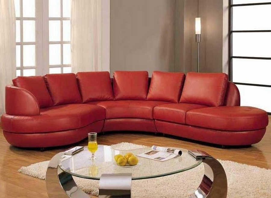 Recent Small Red Leather Sectional Sofas Within Gorgeous Red Leather Sectional Sofa With Chaise And Small Round (View 5 of 10)