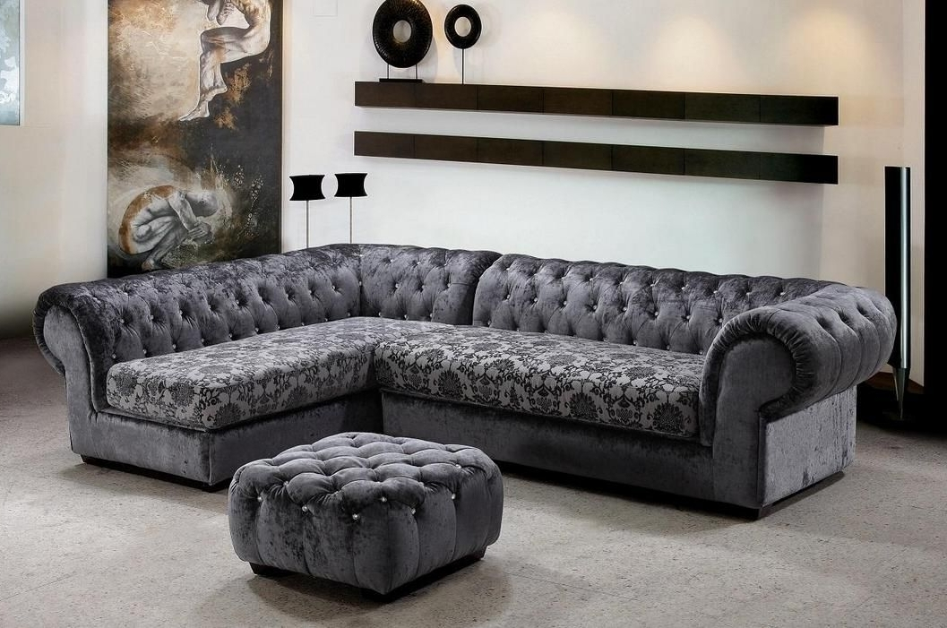 Recent Tufted Sectionals With Chaise Pertaining To Extravagant Tufted Covered In Microfiber Sectional Hayward (View 9 of 15)