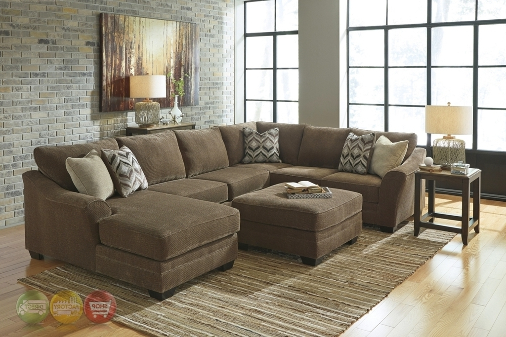 Recent U Shaped Sectionals Pertaining To Justyna Teak Deluxe Brown Large U Shaped Sectional Sofaashley (View 6 of 10)