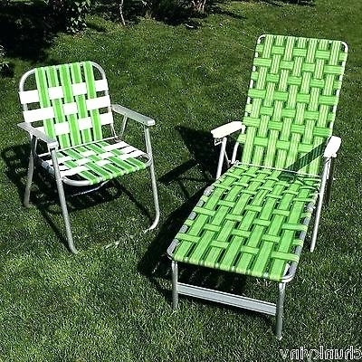 Recent Web Chaise Lounge Lawn Chairs With Regard To Foldable Chaise Lounge Vintage Green Webbed Web Cushion Aluminum (View 9 of 15)