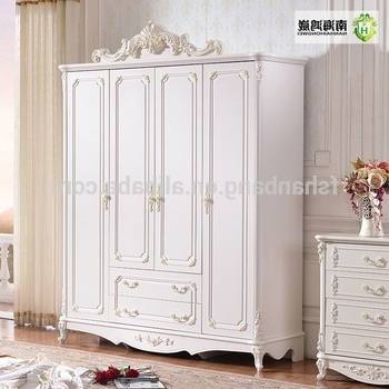 Recent White Carved Large French Style Wooden Panel 4,5,6 Door Bedroom Intended For Armoire French Wardrobes (View 10 of 15)