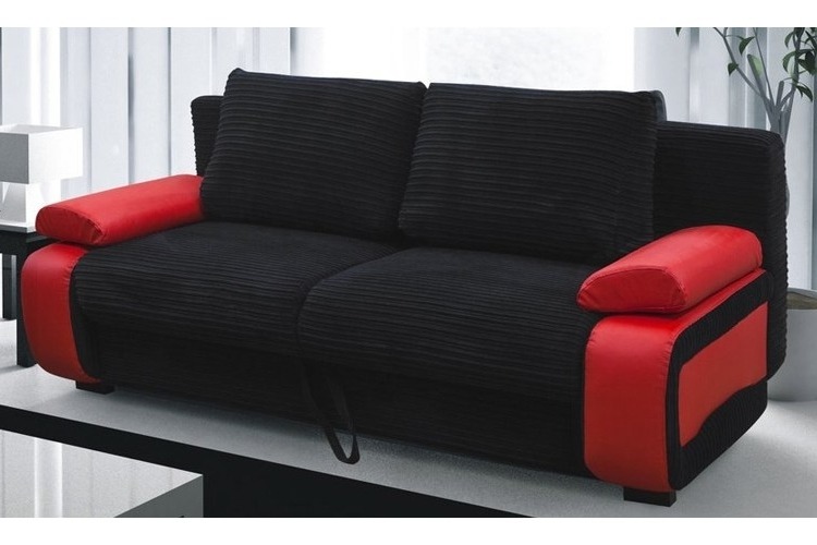 Red And Black Sofas Throughout Fashionable Victor Fabric Sofa Bed Red & Black (View 9 of 10)