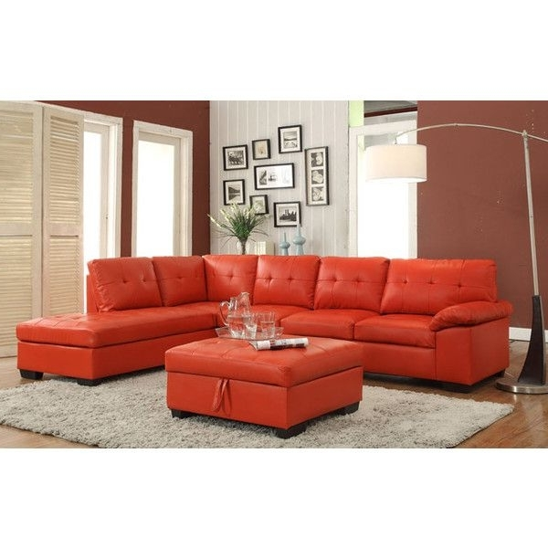 Red Faux Leather Sectionals Within Most Up To Date 2 Pc Emily Ii Collection Red Faux Leather Sectional Sofa Set With (View 7 of 10)