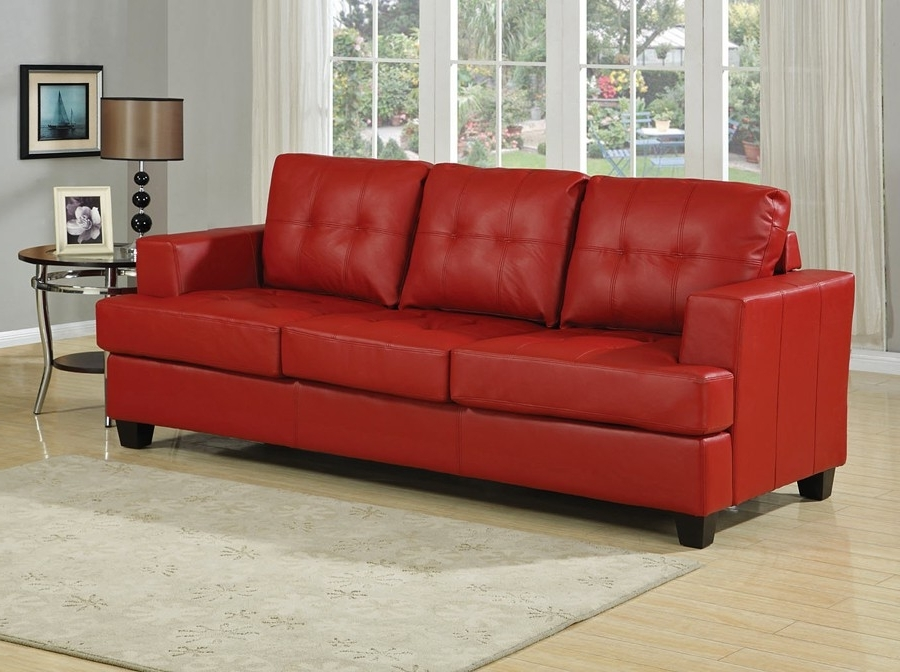 Red Leather Couches And Loveseats With Regard To Best And Newest Red Leather Sofa Bed (View 8 of 10)