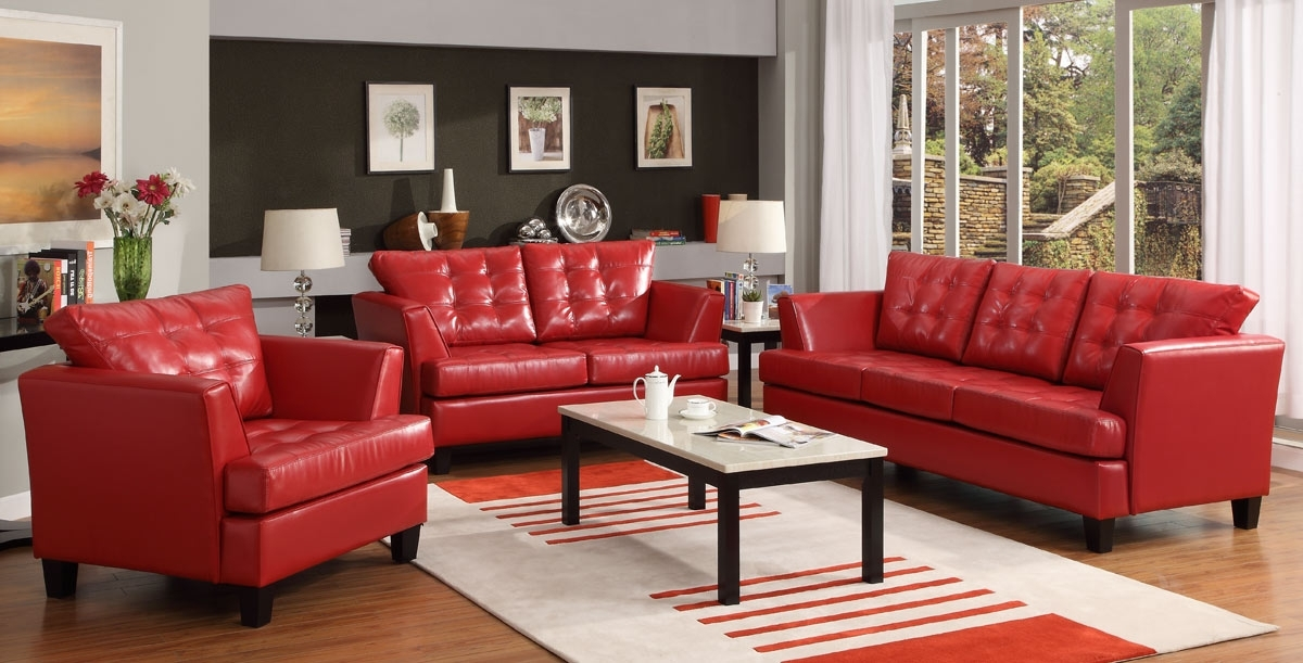 Red Leather Couches For Living Room Regarding Most Popular Red Leather Sofa Set Regarding Incredible With Sofas Danyhoc Ideas (View 8 of 10)