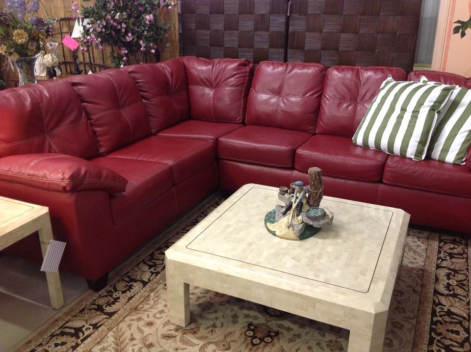 Red Leather Couches In 2017 Gorgeous New Red Leather Sectional With White Stitching (View 9 of 10)