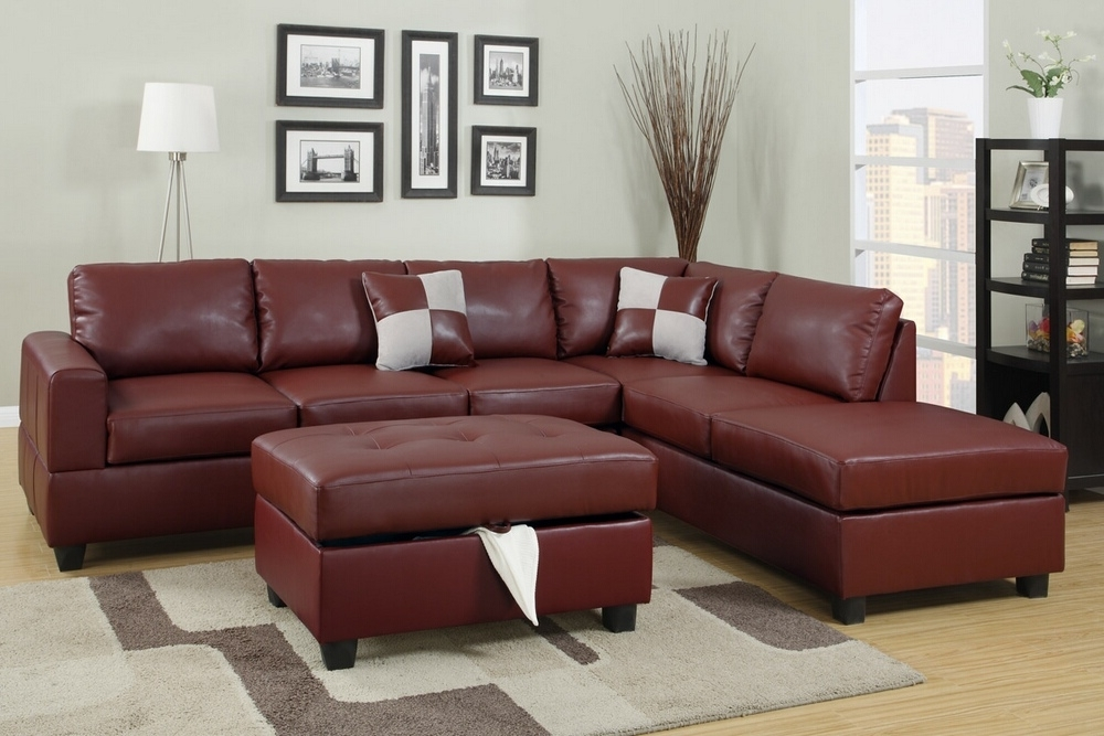 Red Leather Sectional Sofas With Ottoman For Most Current A.m.b (View 6 of 10)