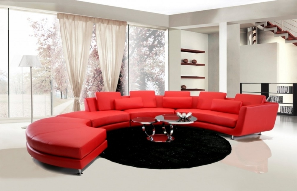 Red Leather Sectional Sofas With Ottoman Regarding Recent Divani Casa Leather Sectional Sofa & Ottoman (View 8 of 10)