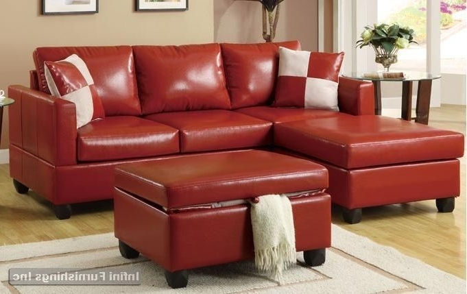 Red Leather Sectional Sofas With Ottoman With Regard To Well Known Bobkona Red Leather Sectional Sofa And Storage Ottoman Set F (View 6 of 10)