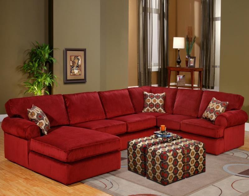 Red Leather Sectionals With Ottoman In Famous Red Sectional Sofa Be Equipped Red Leather Sectional Sofa With (View 7 of 10)