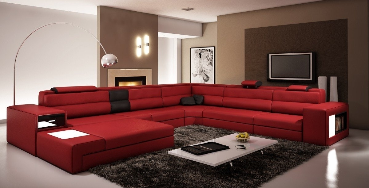 Red Sectional Couches Red Leather Sectional Sofa With Chaise Large Intended For Most Recent Red Sectional Sofas (View 6 of 10)