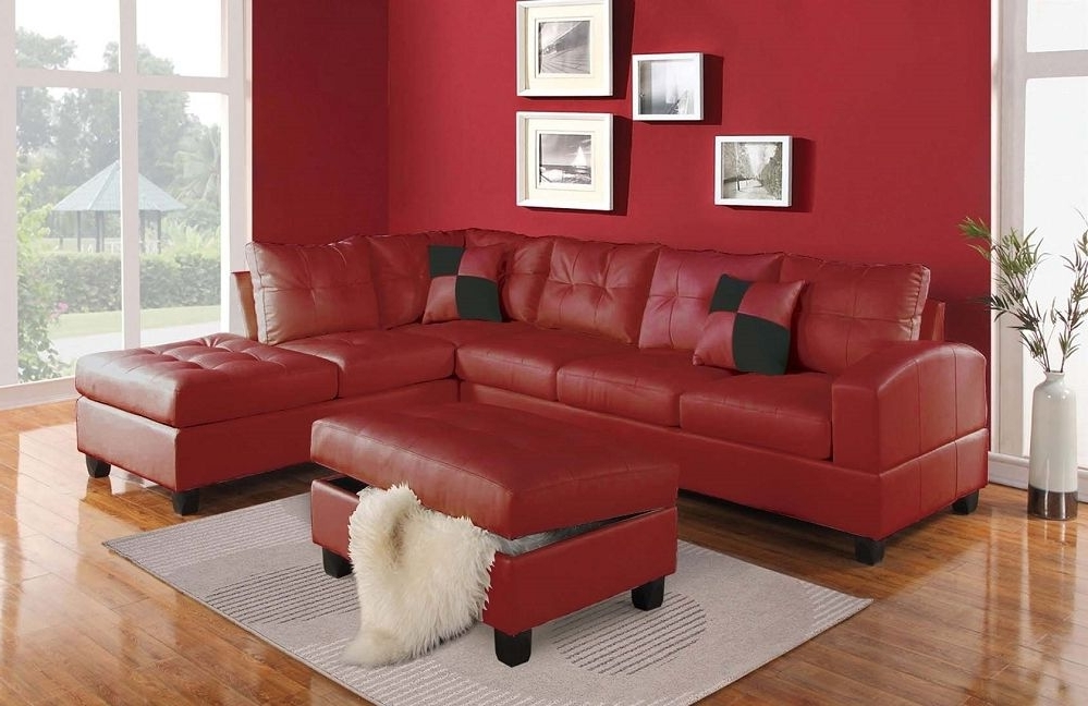 Featured Photo of Red Sectional Sofas With Ottoman