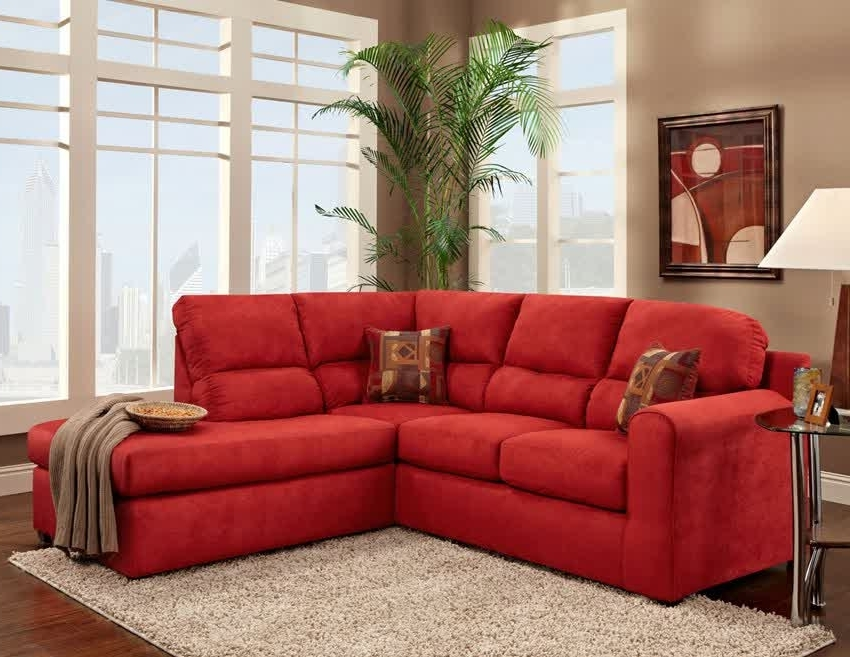 Red Sectional Sofas With Ottoman Throughout Most Up To Date Red Microfiber Sectional Sofa With Chaise – Home Design Ideas And (View 4 of 10)