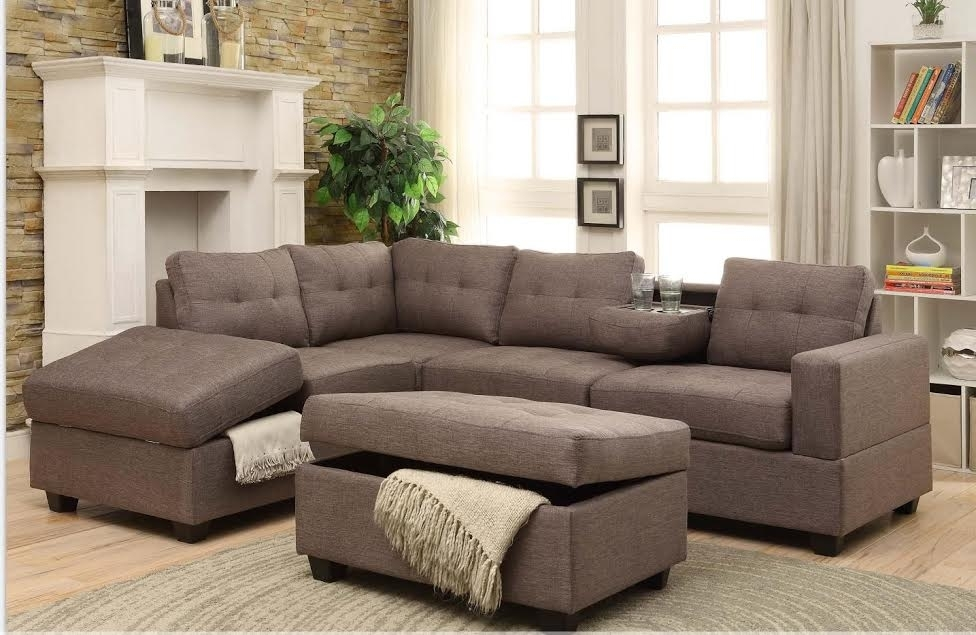 Rena Stone Reversible Sectional With Drop Down Tray + Storage Ottoman With 2017 Sectionals With Ottoman (View 6 of 10)